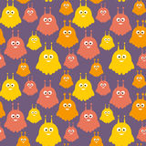 Cute cartoon creatures texture in colors of purple, yellow and orange vector illustration