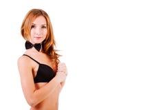 Sweet alluring girl in black lingerie Stock Photo