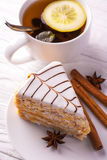 Sweet almond cake and cup of tea Royalty Free Stock Photo