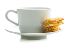 Sweet almond cookies and cup of tea. Stock Image