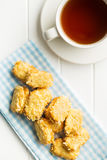 Sweet almond cookies and cup of tea. Stock Photography