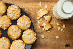 Sweet almond cookies with milk. Stock Images