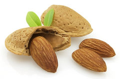 Sweet almonds. Sweet and tasty almonds with leaves Stock Photo