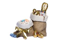 Sweet almonds and chocolate bunnies Stock Images