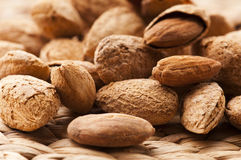 Sweet almonds with kernel Stock Images