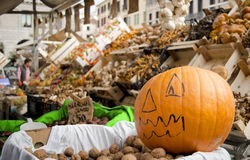 Sweet, amazing, tasty pumpkin on market background, Halloween concept, horizontal Stock Photography