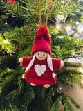Sweet angel decoration in red Stock Image