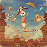 Sweet animals: dog with  umbrella, fish and  cat   in sky Stock Photo