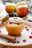 Sweet apple with cheese baked in the oven Stock Image