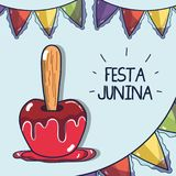 Sweet apple related with the festa junina celebration. Vector illustration Royalty Free Stock Images