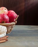 Sweet apples in the basket royalty free stock photography