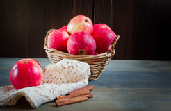 Sweet apples in the basket stock photos
