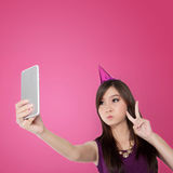 Sweet Asian teen doing a cute selfie pose Royalty Free Stock Photography