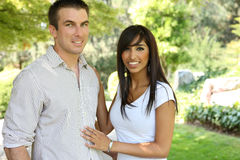 Sweet Attractive Couple in Park Royalty Free Stock Photos