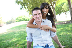 Sweet Attractive Couple in Park Royalty Free Stock Photo