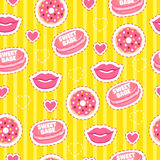 Sweet babe. Yellow sweet background. Trendy seamless pattern with fashion stickers for girl: donuts, lips, hearts and macaroons. Sweet babe. Yellow sweet Royalty Free Stock Photos