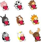 Sweet baby animals love heart cartoon set Stock Photography