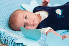 Sweet baby on the bed Stock Images