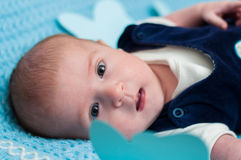 Sweet baby on the bed Royalty Free Stock Images