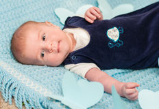 Sweet baby on the bed Royalty Free Stock Photography