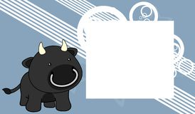 Sweet baby black bull cartoon frame background Royalty Free Stock Photography