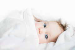 Sweet baby with blue eyes playing peek-a-boo. Sweet little baby with blue eyes playing peek-a-boo Stock Image