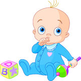 Sweet baby boy. Baby Boy playing with rattle vector illustration