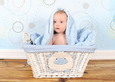Sweet baby boy in basket with blanket on head Royalty Free Stock Photo