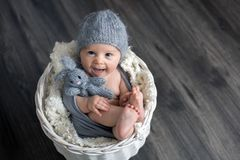 Sweet baby boy in basket, holding and hugging teddy bear, looking curiously at camera. Smiling stock image