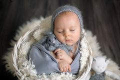 Sweet baby boy in basket, holding and hugging teddy bear, peacefully sleeping royalty free stock photos