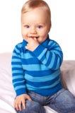 Sweet baby boy in blue cardigan Royalty Free Stock Image