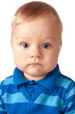 Sweet baby boy in blue cardigan Stock Photo