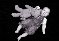 Sweet baby boy with cuddly toy. Portrait of three months old sweet baby boy with cuddly toy Stock Photography