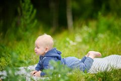 Sweet baby boy at the park Royalty Free Stock Photography