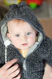 Sweet baby boy in warm winter clothes Stock Photos