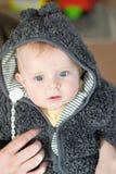 Sweet baby boy in warm winter clothes. Indoor Stock Photos