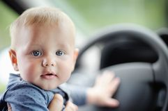 Sweet baby in the car Stock Photo