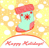 Sweet baby Christmas illustration.. Patterned socks for gifts Royalty Free Stock Photography