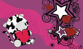Sweet baby cow love heart cartoon background Stock Images