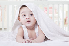 Sweet Baby Crawling on The Bedroom Royalty Free Stock Photos
