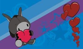 Sweet baby donkey love heart cartoon background Stock Photos