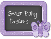 Sweet Baby Dreams Nursery Frame. Baby butterfly nap time nursery bulletin board, Sweet Baby Dreams, pastel lavender polka dots for scrapbooks, albums, baby books Royalty Free Stock Image