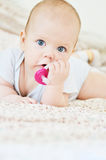 Sweet baby with dummy royalty free stock photography