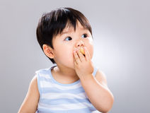 Sweet baby eating cookie Royalty Free Stock Photos