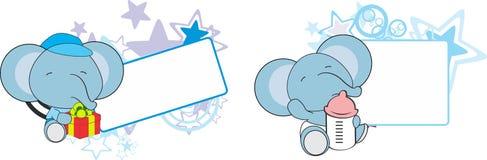 Sweet baby elephant cartoon set Royalty Free Stock Image