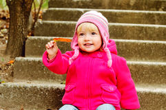 Sweet baby in fall Stock Photo