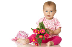 Sweet baby with flowers Stock Photos