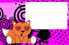 Sweet baby fox expressions cartoon background Royalty Free Stock Images