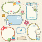 Sweet Baby Frames. Hand drawn frames, banners with baby elements. Seamless background Stock Images