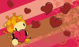 Sweet baby giraffe love heart cartoon background Royalty Free Stock Photography
